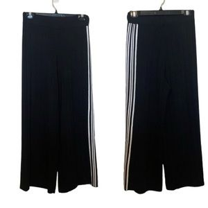 UCHUU Montreal Black Knit Wide Leg Trousers with Side White Stripes